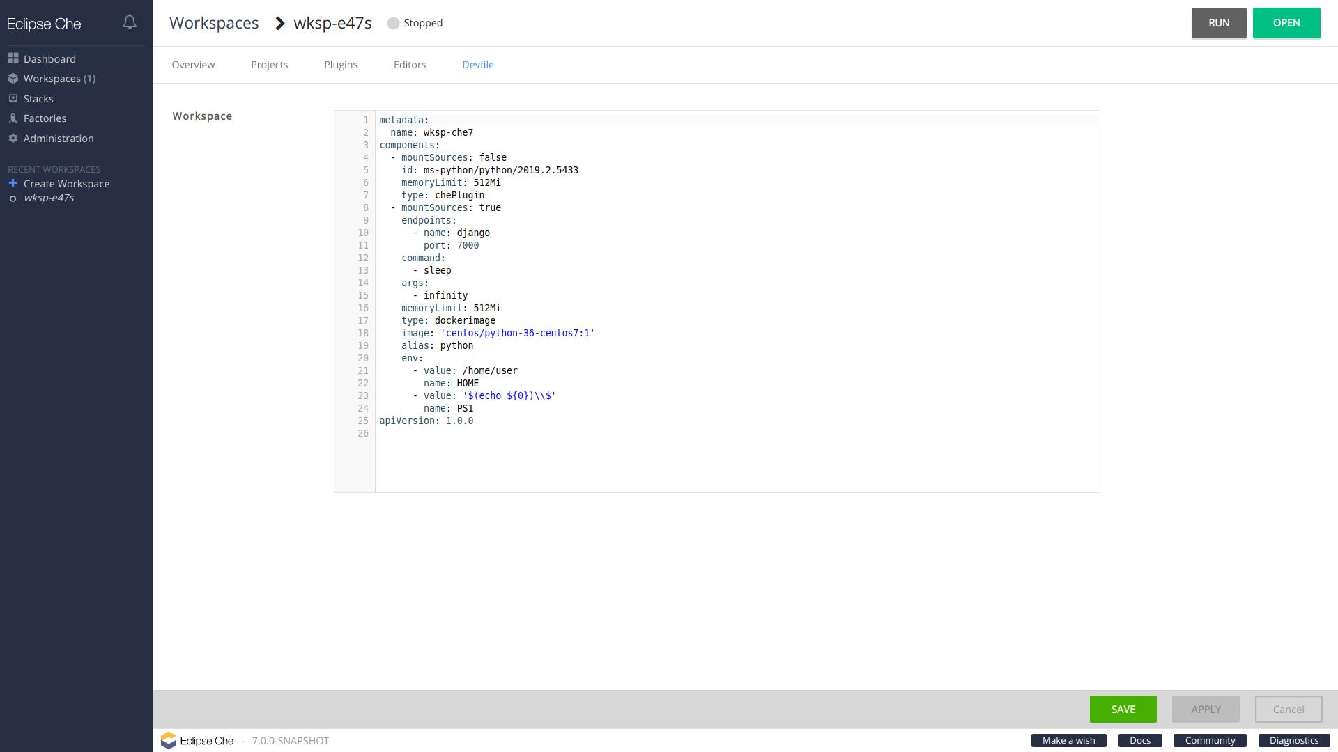 workspace devfile tab