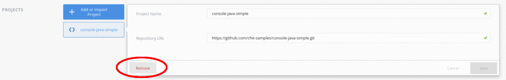 remove default project