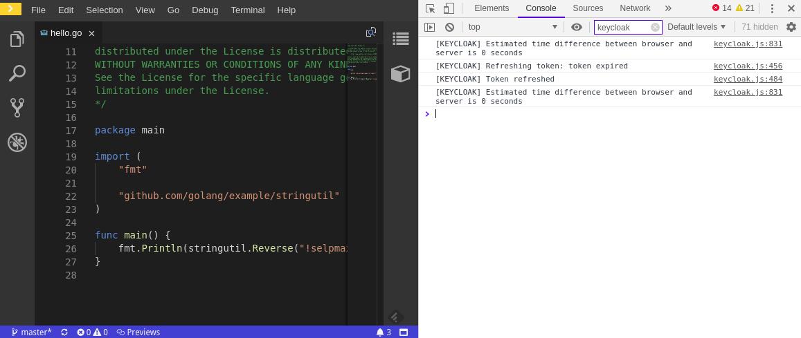 crw viewing keycloak ide logs on google chrome