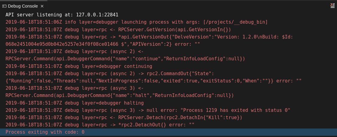 viewing debug console log for go