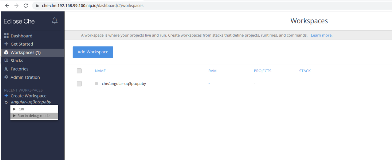 run workspace in debug mode