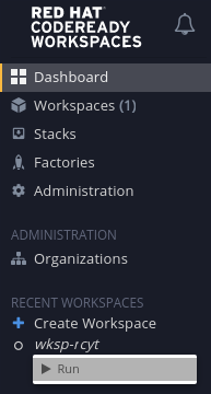 Run from Recent Workspaces