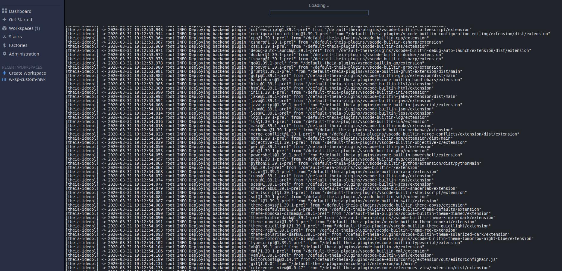 starting workspace debug logs
