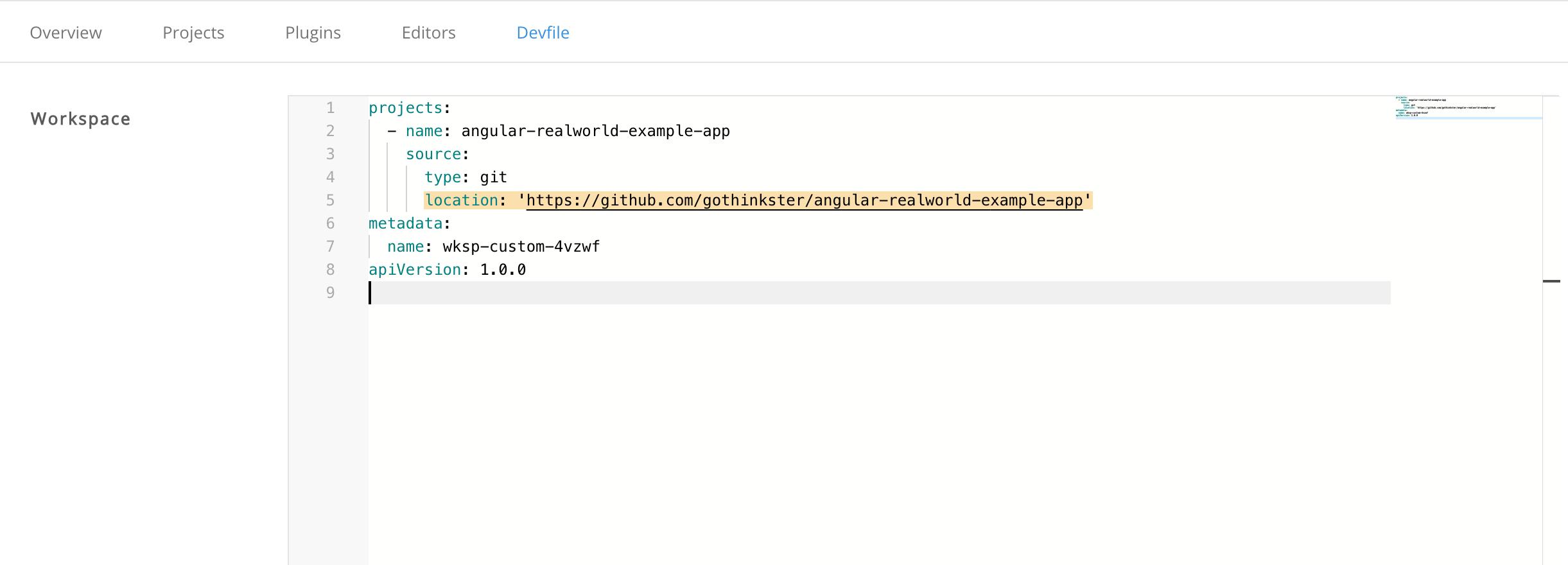 Edit Devfile Content