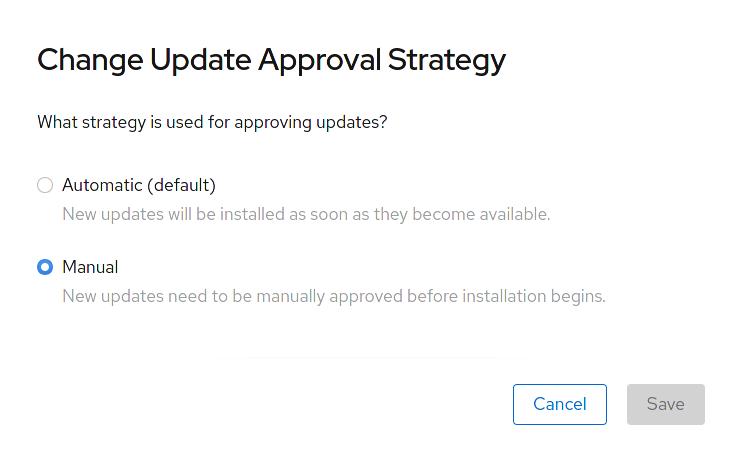 Specifying upgrade strategy screenshot