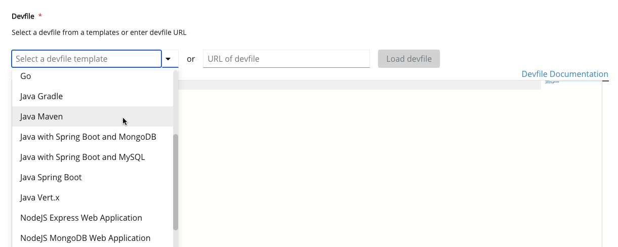 Select a devfile from the list