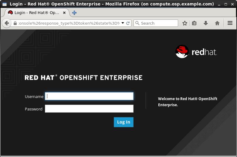 OpenShift Login Screen