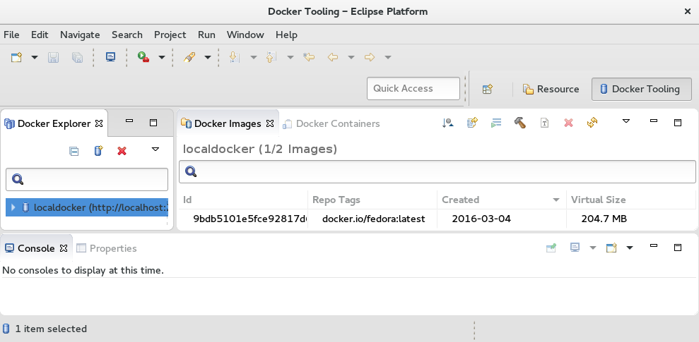 Eclipse Docker Tooling Screen