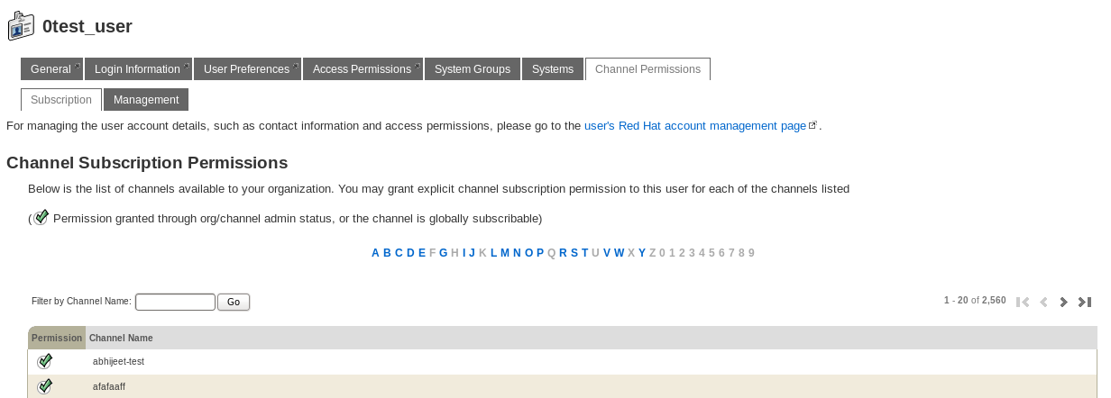 Changing a User's Channel Subscription Permissions