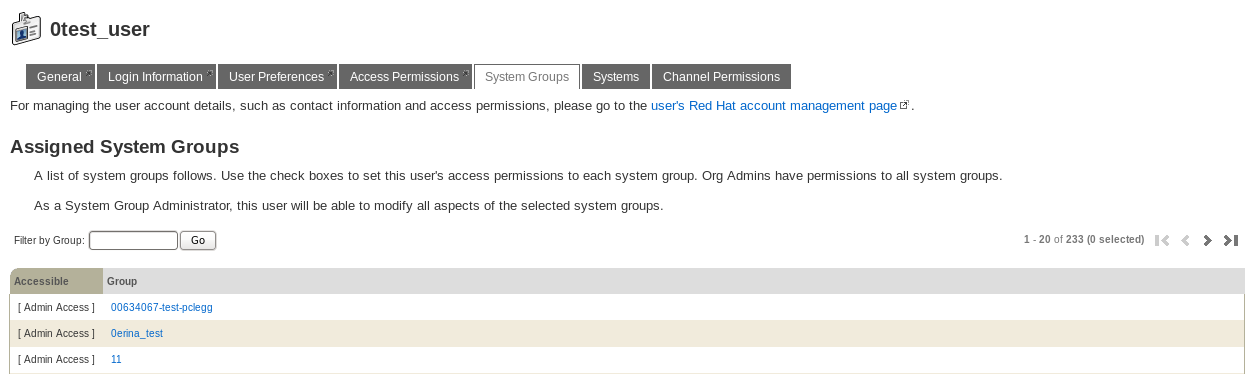 Changing a User's Assigned System Groups