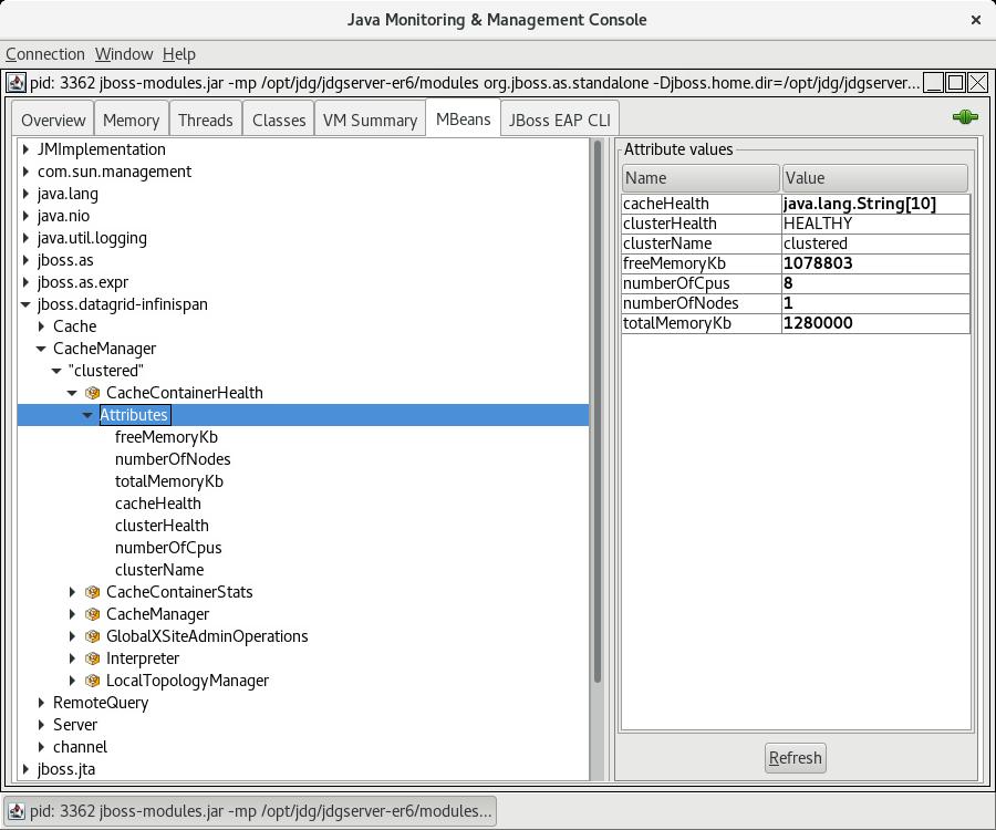 Viewing the Health Check API using JMX