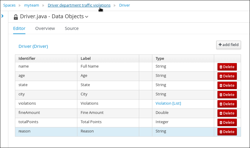 driver data fields