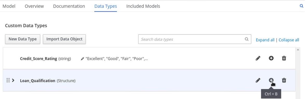 dmn manage data types structured