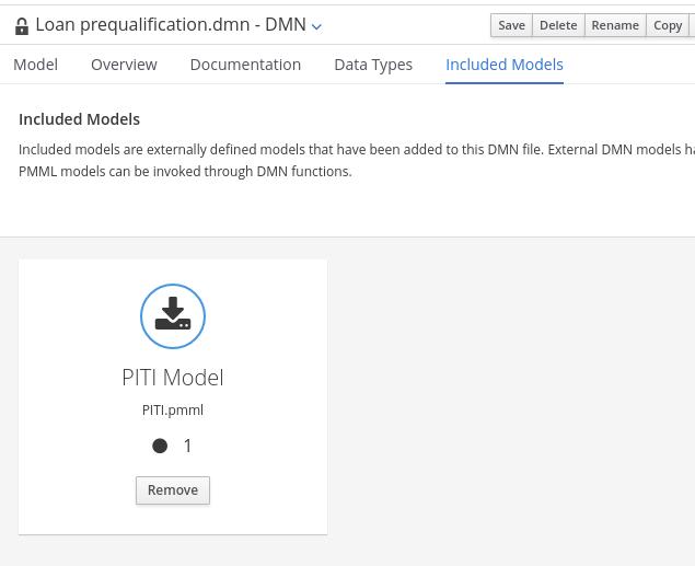 dmn include model list pmml
