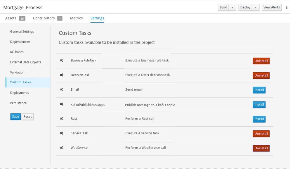 Project-level custom task settings
