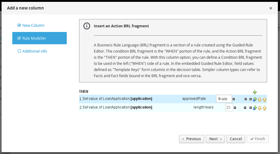Action BRL Fragment in the guided decision tables designer