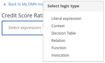 dmn decision boxed expression options