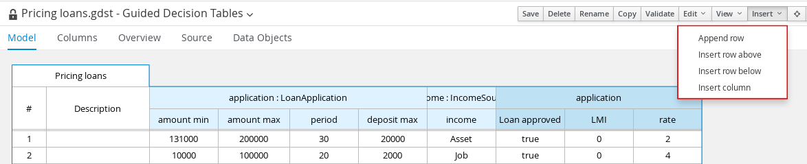 Add rows in the guided decision tables designer