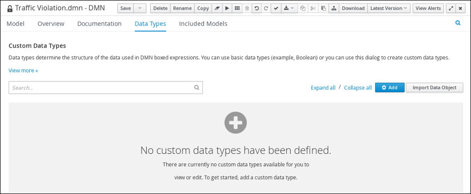 dmn custom datatypes tab