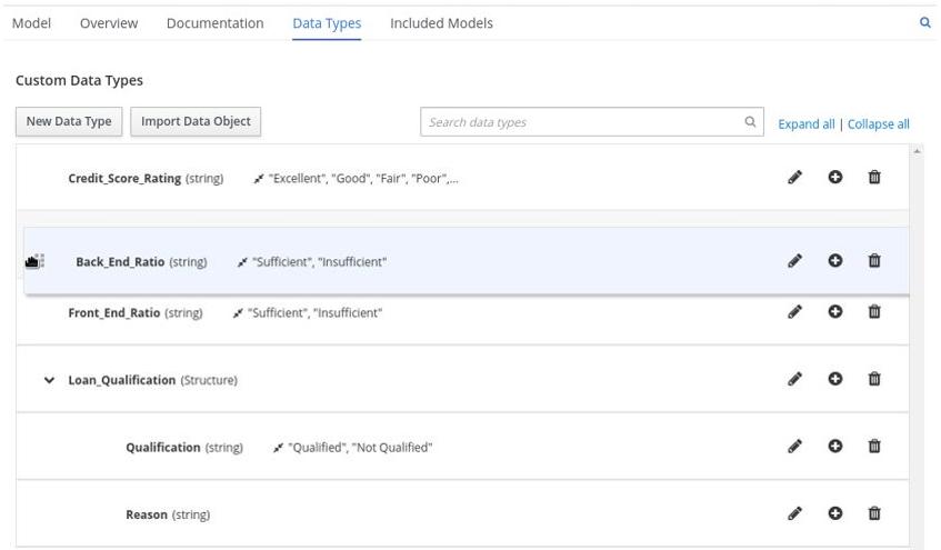 dmn manage data types structured2 drag