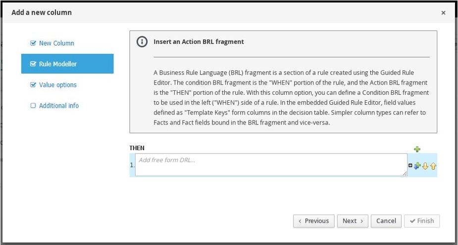 Action BRL Fragment column for guided decision tables designer