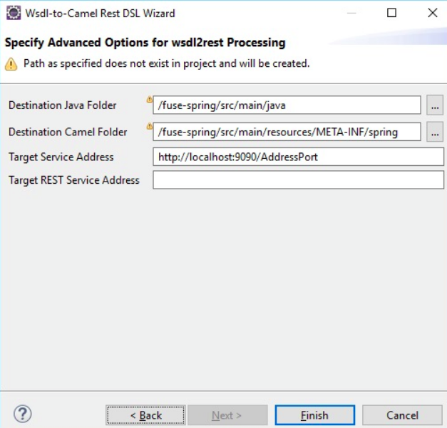 Specifying the Advanced Options for wsdl2rest Processing