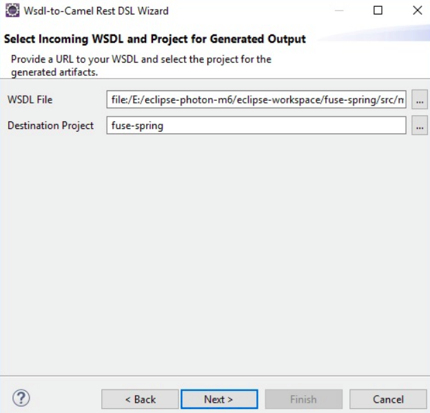 Selecting the WSDL and Fuse Integration Project