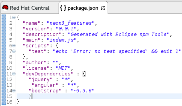 package.json File as Edited