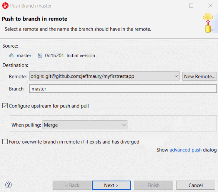 Push to branch in remote window