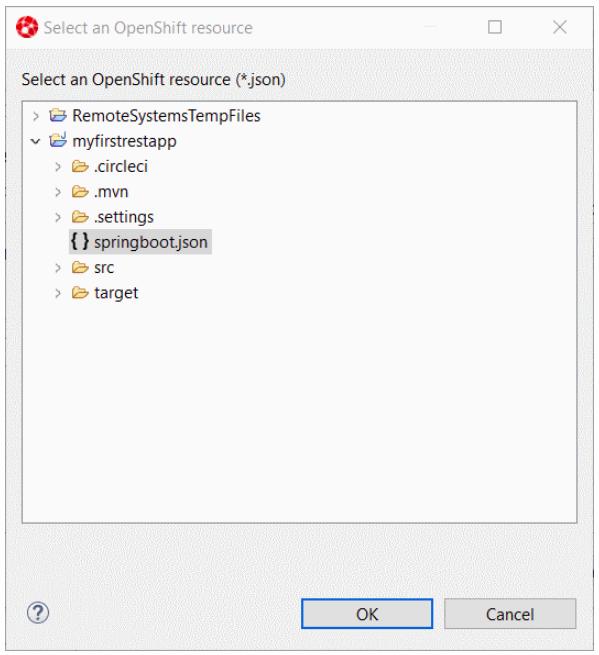 Select an OpenShift resource window