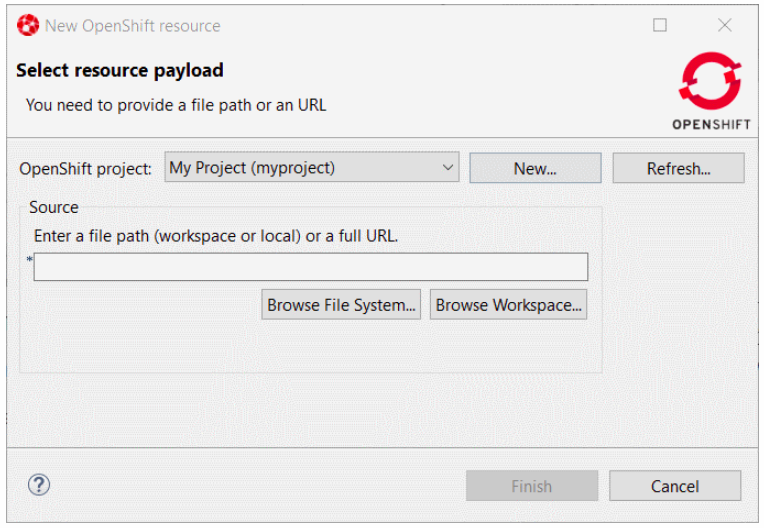 Select resource payload window