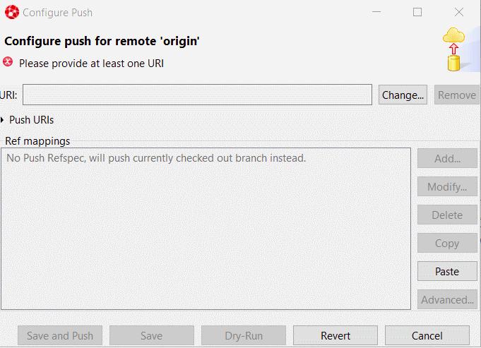 The Configure Push window