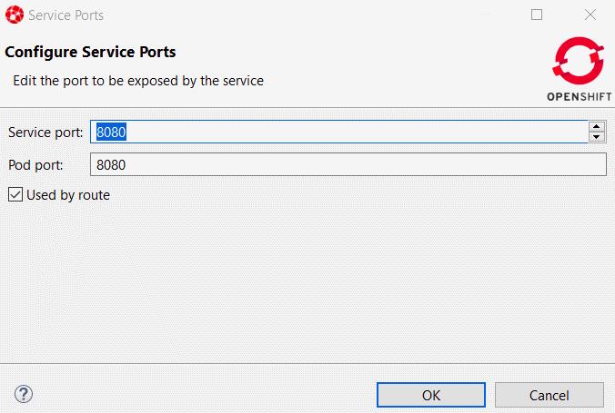 Configure Service Ports window