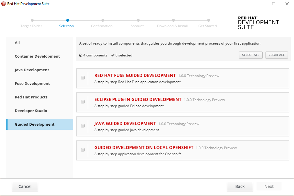 Container Development Selection