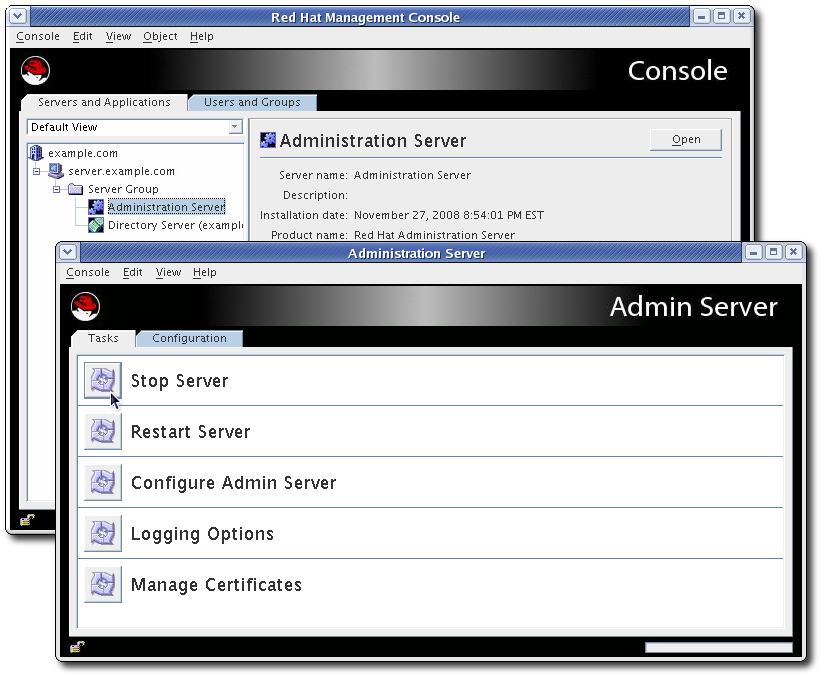The AdministrationServer Console