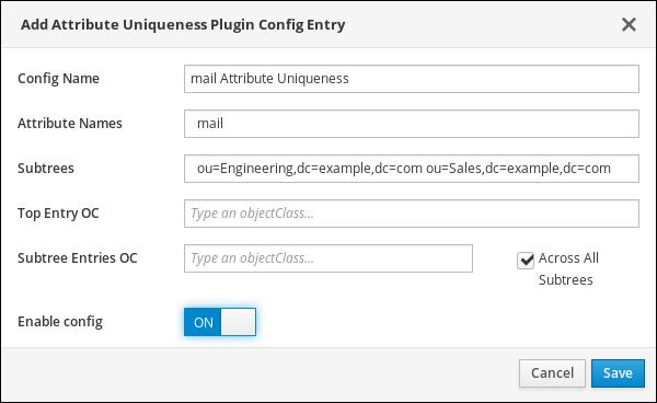 Adding an Attribute Uniqueness Configuration