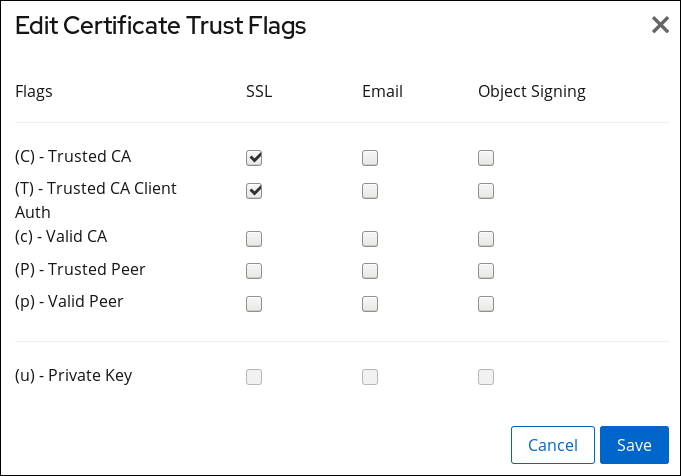 Adding Trust Flags of a CA Certificate