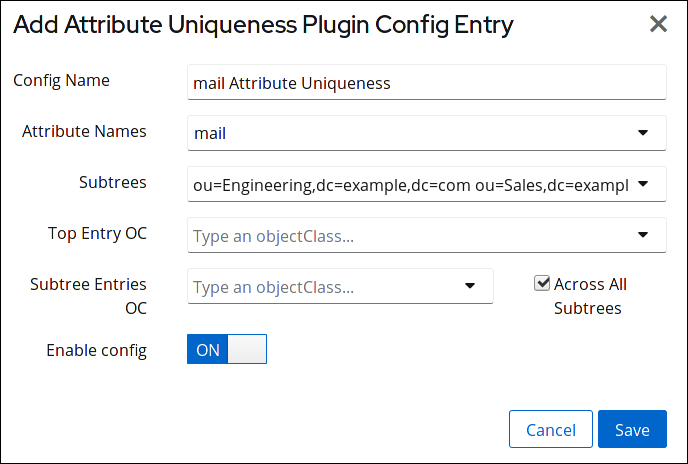 Adding an Attribute Uniqueness Configuration