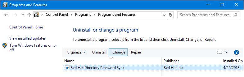remove PassSync using control panel
