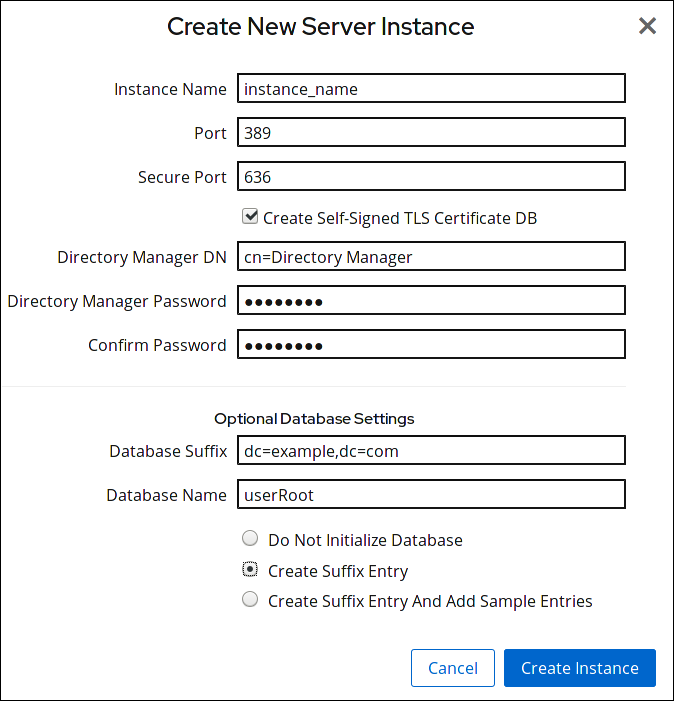 create new server instance