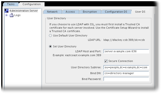 74 setting up tlsssl red hat customer portal select the set user directory radio button and fill in the directory server secure port information the ldap url and the user database information yelopaper Gallery