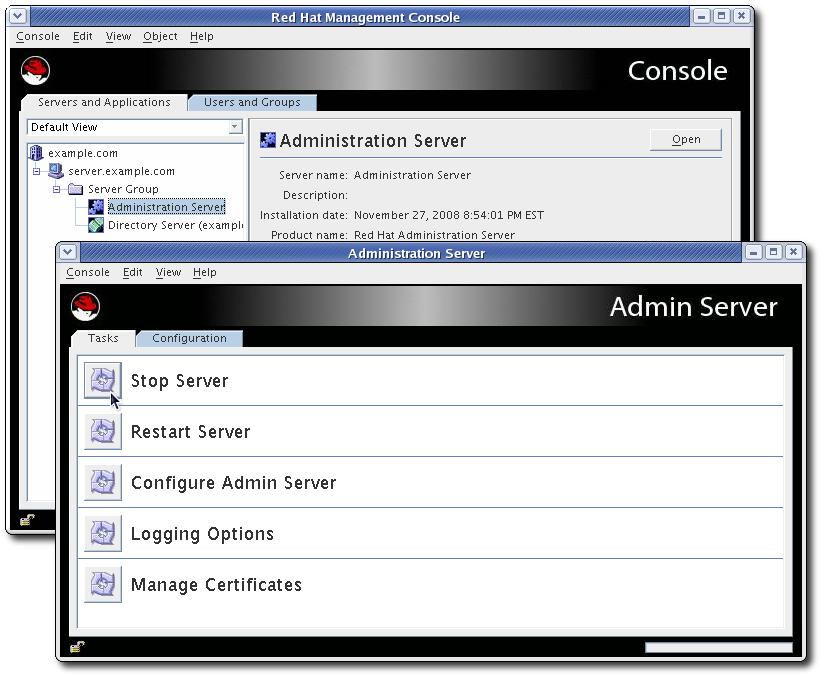 The Admin Server Console