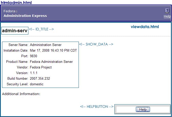 Server Information Page Elements