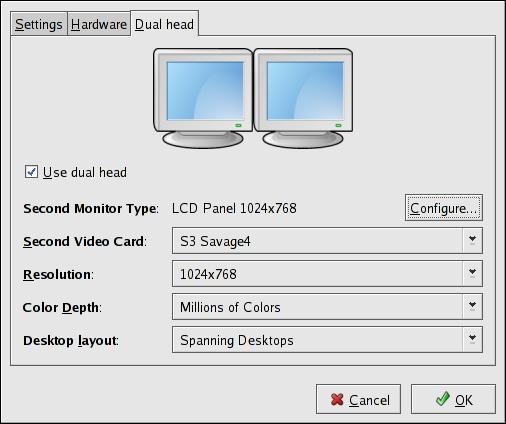 Dual Head Display Settings