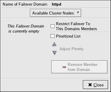 Failover Domain Configuration: Configuring a Failover Domain