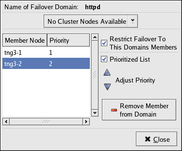 Failover Domain Configuration: Adjusting Priority