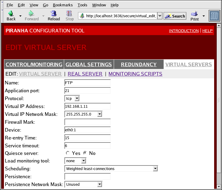 The VIRTUAL SERVERS Subsection