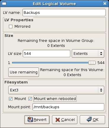 Edit logical volume - specifying mount options