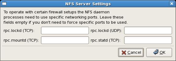 NFS Server Settings