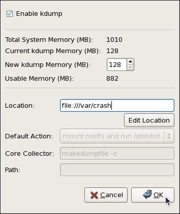 The Kernel Dump Configuration utility